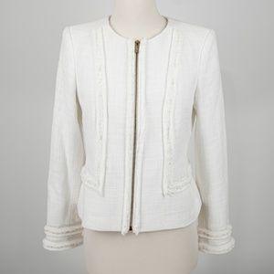 Karl Lagerfeld Tweed Fringe Zip Jacket Size 4